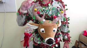 behemuth tacky ugly christmas sweater light up deer head for sale