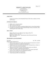 objectives of resumes tourism sample resume menu restaurants