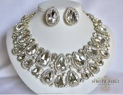 necklace set crystal images Gold bridal jewelry set crystal statement necklace earrings jpg