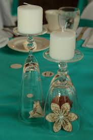 Bridal Shower Centerpiece Ideas by Upside Down Wine Glasses Candles And Paper Flowers U003d Diy