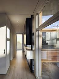 architecture glass bay window wooden floor split level house