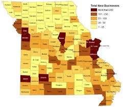 missouri map by population missouri new business formation