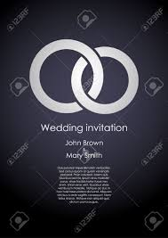 stylish dark wedding invitation template with white rings and