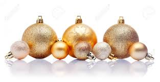 a line of large and small gold christmas baubles with reflections