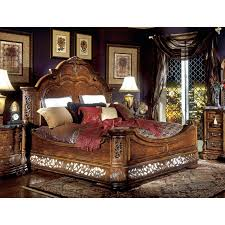 aico excelsior king size mansion bed in fruitwood finish beds