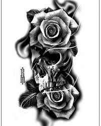 skull with rose tattoo design skull tattoo design images free