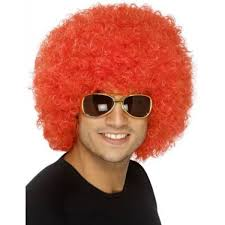 card halloween costume red afro wig
