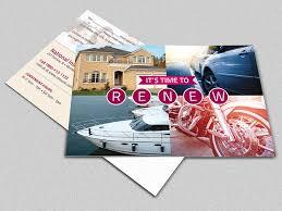 insurance renewal postcard template on behance