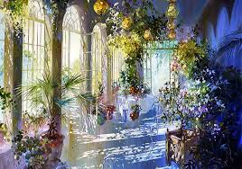 other indoor patio cityscape painting scenery art artwork sunny