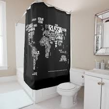 Shower Curtain World Map World Map Typography Shower Curtain Black U0026 White Shower Curtain