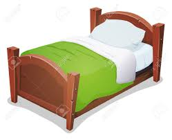 illustration of a cartoon wooden children bed for boys and girls