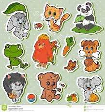 cute animals set vector kids stickers with baby animals stock