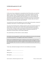 confidentiality agreement for staff