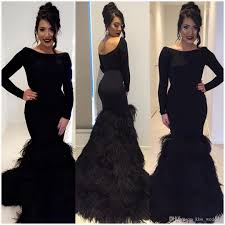 black backless feathers evening dresses slim mermaid formal prom