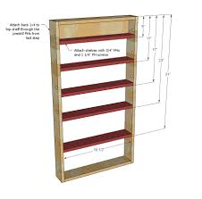 Woodworking Storage Shelf Plans by Ana White Door Spice Rack Diy Projects
