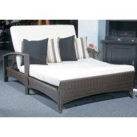 furniture white fabric double chaise lounge sofa with dark brown