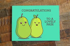congratulations to a lovely pair wedding card tiny bee