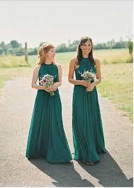 hunter green bridesmaid dress long bridesmaid dress halter