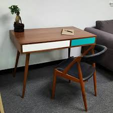 Modern Desks With Drawers Mid Century Modern Desk With Two Push To Open Drawers And Cable