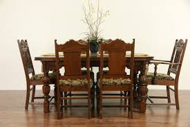 Antique Oak Dining Room Sets Sold English Tudor 1920 Antique Carved Oak Dining Set Table U0026 6