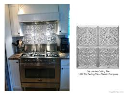 Tin Tiles For Backsplash In Kitchen Stainless Steel Stove Fabulous Tin Backsplash Decorative