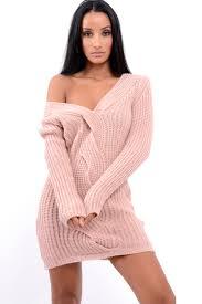 v neck twist knit jumper dress tilly
