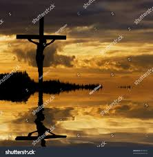 silhouette jesus christ crucifixion on cross stock photo 69729721