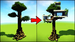 transforming a minecraft tree into a modern house