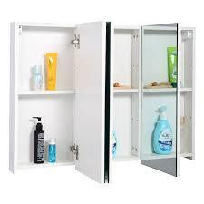 single mirrored door bathroom wall cabinet with 3 shelves roman