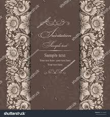 Vintage Invitation Cards Wedding Invitation Cards Baroque Style Brown Stock Vector