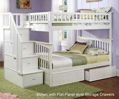 Bunk Beds With Storage Drawers by Columbia Full Over Full Staircase Bunk Bed White Bedroom