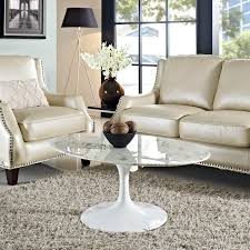 furniture white round marble coffee table with furry rug and