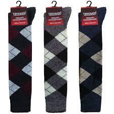 mens diamond argyle long socks knee high thermal wool golf warm
