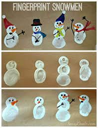 diy fingerprint snowman winter craft for crafty morning
