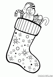 coloring page christmas stockings on the fireplace