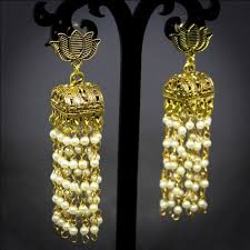 jhumka earrings with chain golden lotus 5 layer pearl jhumka beadsobling