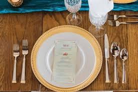 Blue Table Menu Pomegranate And Artichoke Wedding Inspiration
