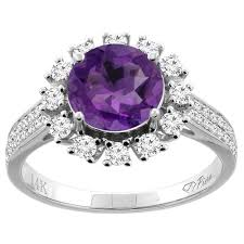 14k gold large diamond amethyst women u0027s right hand rings amethyst sears