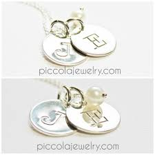 silver necklace with letters images Personalized silver initial letter 1 2 quot disc necklace with pearl jpg