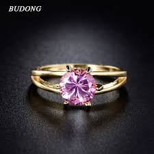 pink rings gold images Budong luxury gold color finger rings for women pink stone cubic jpg