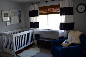 Navy And White Striped Curtains Nursery Curtains White Baby Nursery Comfortable Boy Baby Crib