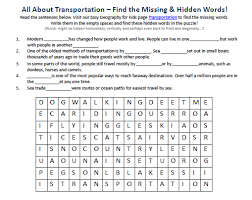 transportation worksheet free hidden words puzzles games to