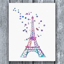 eiffel tower watercolor art print instant from allartprints on