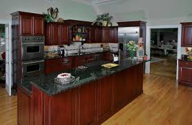 Kitchen Cherry Cabinets Cherry Cabinets With Crown Molding And Dark Granite Counters All