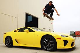 lexus lfa modified lexus fan tony hawk uses skateboard to jump over lfa video