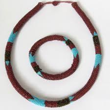 round turquoise necklace images African zulu beaded necklace and round bracelet set bronze and jpg