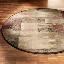 Round Bathroom Rug by Ornate Block Round Area Rug
