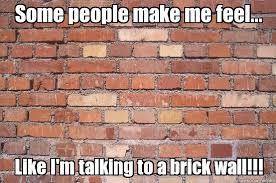 Brick Wall Meme - talking to a brick wall some people make me feel like i m
