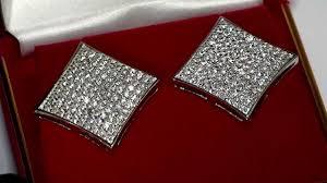 back earrings for men mens 925 silver diamond shaped kite iced out earrings mens