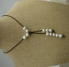 leather necklace with pearl images High lusterround pearl necklace pearl leather necklace jpg